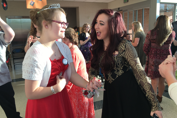 Amelia Maynard (right) dances with a student from Kari Sue Hamilton School. – Tori La Rue