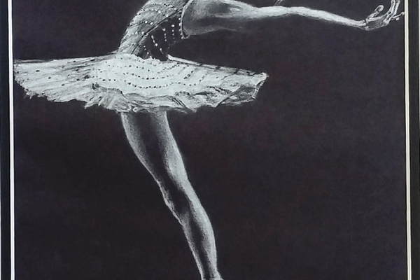 Morgan's recent drawing of a ballerina was exhibited at the Oxford Arts Alliance.