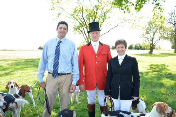Staff of the Wicomico Hunt Club: Greg Thompson, MFH and Professional Huntsman, James Griffin, MFH, and Alison Howard, Honorary Whipper-In