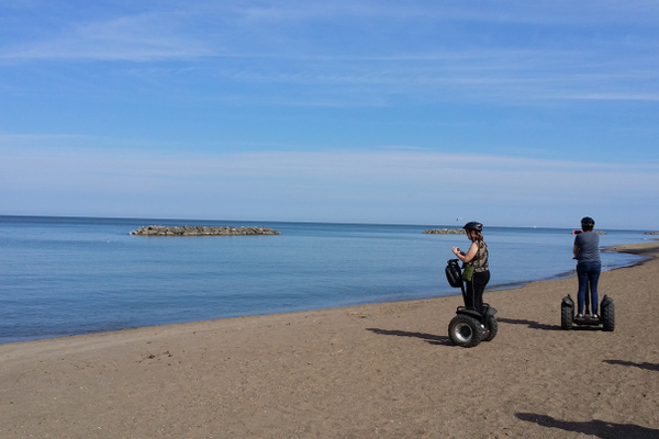 Segway riding on the beach