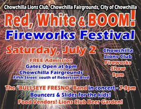 Red White  Boom Chowchilla Fireworks Festival  - start Jul 02 2016 0700PM