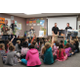 (left to right) Kyle Bowen, Matt Winward, John Rose, Jordan Allen, and Brandon Crookston present to Mr. Suggs fourth grade class at Welby Elementary on May 23rd. –Sandra Osborn
