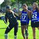 Three Bingham High Lacrosse Players pose for a picture. –Tori La Rue