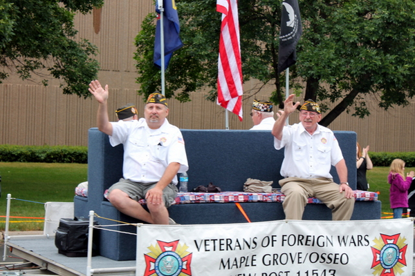 Osseo/Maple Grove Veterans of Foreign Wars at the 2016 Maple Grove Days Pierre Bottineau Parade along 89th Avenue Thursday, July 14