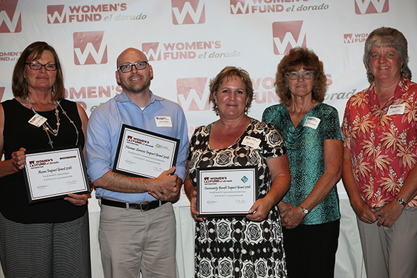 3. Impact Grants recipients Cindy Skelton-Hodge (Windows To My Soul), Matt Williams (The Center for Violence-Free Relationships), and Sheri Burke, Jan Sherwood and Cheryl Turner (Master Gardeners of El Dorado County)