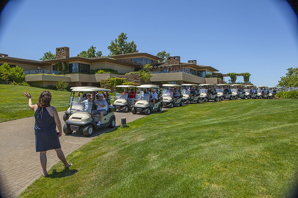3. El Dorado Hills Chamber President and CEO Debbie Manning wishes golfers good luck