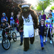 The Utah Jazz Bear walks with a group of students to Altara Elementary on May 10 as the Christiansen family won the Utah Department of Transportation's Spring Walk 'n Win contest. — Julie Slama