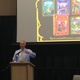 : Jim Cooper, Salt Lake County Library Director, introduces Chris Colfer, an author and actor, at Viridian Event Center gathering. –Mylinda LeGrande