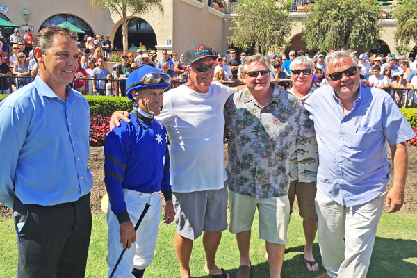In the paddock with jockey Gary Stevens before the race.