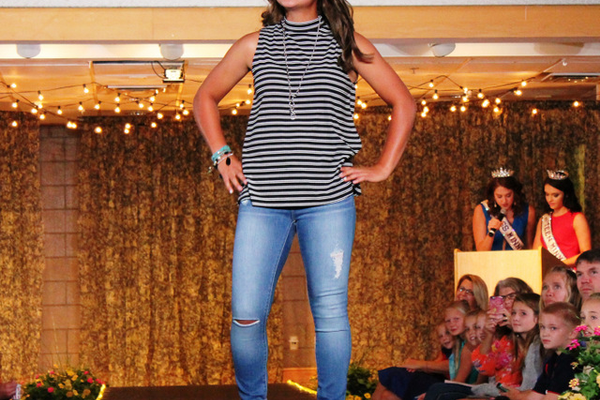 Ellie N. models clothes from Apricot Lane during the annual Back-to-School Fashion Preview Aug. 17, 2016 at the Maple Grove Community Center. (Photo by Wendy Erlien)