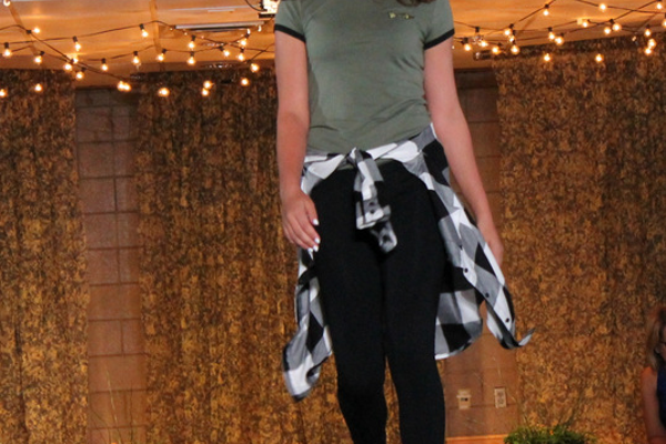Grace N. models clothes from JcPenney during the annual Back-to-School Fashion Preview Aug. 17, 2016 at the Maple Grove Community Center. (Photo by Wendy Erlien)