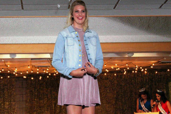 Madison L. models clothes from Mainstream Boutique during the annual Back-to-School Fashion Preview Aug. 17, 2016 at the Maple Grove Community Center. (Photo by Wendy Erlien)