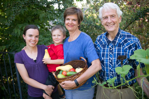 Rachel Fleming (left), Aaron Fleming, Lark Galli and Wayne Evans are four generations of a family participating in the GardenShare Program. (Hannah Galli | inner i art_