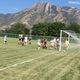 The Highland High girls soccer team scores against Cottonwood High on Aug. 11. –Travis Barton