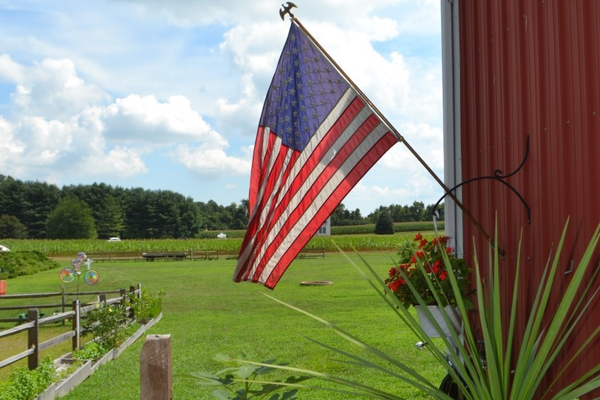 The American flag waves in the afternoon breezes at Filasky's Produce.