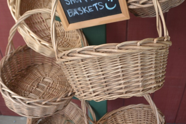 A display of baskets awaits customers.