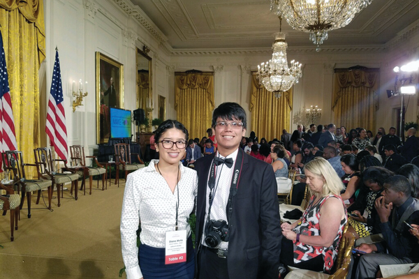 Diana Mota and Jonathan D'Cruz snap a photo before the Beating the Odds Summit begins in Washington, D.C. Mota and D'Cruz were two of 160 students selected to attend the Summit. –Jose Enriquez