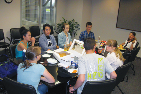 The Youth City Council discuss items of business during their June meeting. –Travis Barton