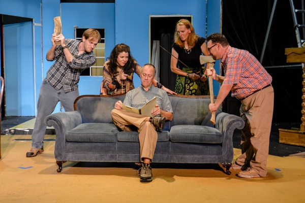 The Deathtrap cast, starting from the left: Robert Brafford, Vanessa Davis, Wil Lampe (sitting on couch), Cheryl Opel, Jonathan M Ewart. Photo by Jennifer Lancaster Ritchie.