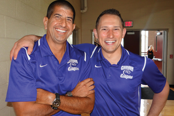 Leonard Trevino with Mike Callen, men's hockey coach, Chatham University
