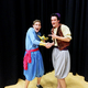 Samuel Cooper, playing the part of Genie, and Kartchner Perkins, playing the part of Aladdin, pose for a picture during a Riverton Arts Council Aladdin Jr. rehearsal.