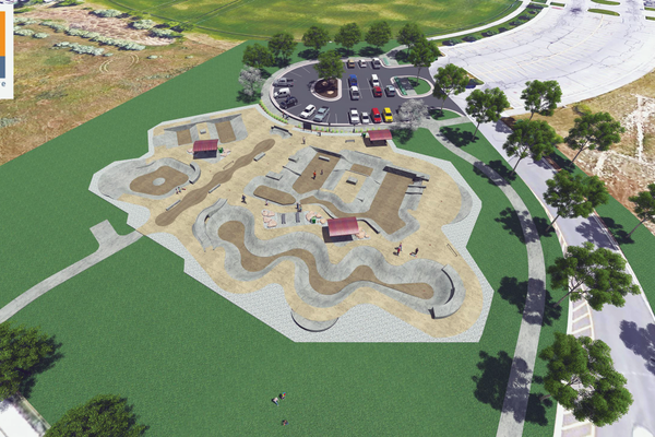 An artist's drawing of the finished skate park located near the family fitness center on 5600 West in West Valley. (Think Architecture/West Valley City)