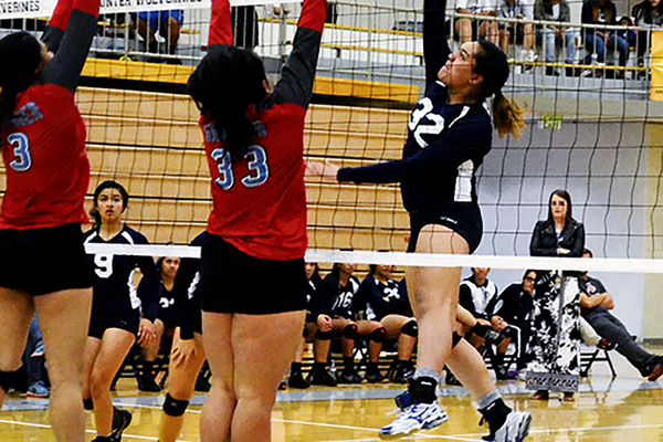 Senior middle blocker Ofa Miko spikes the ball during the Wolverines game against Granger High. (Kimberly Roach/City Journals)
