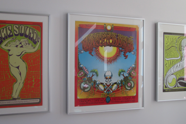Vintage 1960s concert posters are on display in one gallery.