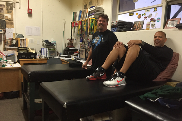 Trainers Tim and Cam in the Mira Costa training room