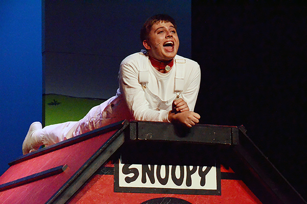 Snoopy, played by Wade Flanagan, waxes philosophic about being a dog. (Karla Marsden/Sandy Arts Guild)
