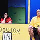 Charlie Brown, played by Josh Little, tells Lucy, played by Krista Gowda, all of his problems. (Karla Marsden/Sandy Arts Guild)