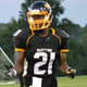 Seth Asare jogs off the field during a BRHS football game this season