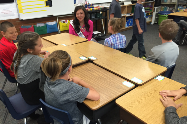 Miss Teen of Utah Megan Okumura talks to Liberty Elementary fourth-graders about what they are learning in math. (Julie Slama/City Journals)