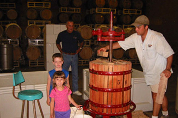 Pressing crew Chardonnay 2001, Logan, Mackenzie, Norman, and Bret Engelman (Three generations of Engelman's)