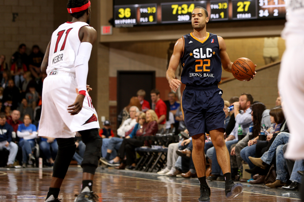 J.J. O'Brien handles the ball during the Salt Lake City Stars' inaugural game against the defending NBA D-League Champions the Sioux Fall Skyforce. O'Brien added 20 points and six boards to the game, but the Skyforce still Defeated the Stars 117–100 (Dave Eggen/NBAE/Getty Images)