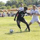 Bordentown boys soccer player Hector Harris takes the ball from a Burlington Township opponent during a game at Fountain Woods Elementary School earlier this season Staff photo by Samantha Sciarrotta