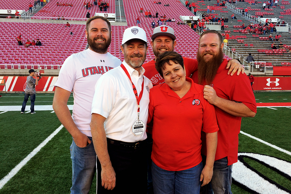 West Valley City Councilman Steve Vincent and his family celebrate the final game of his career on the Utah football sidelines. (Greg James/City Journals)