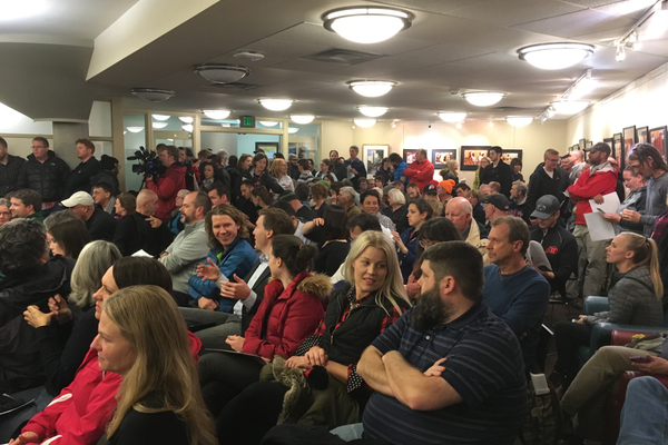 More than 250 people attended the Sugar House Community Council meeting to ask city officials questions about the planned homeless shelter on Jan. 4 at the Sprague Library. (Travis Barton/City Journals)