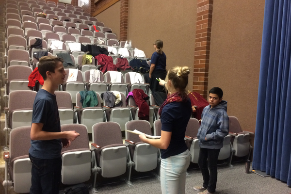"Midvale Middle School theatre students organize costumes for the student-written play, ""Portia's Example,"" based on ""The Merchant of Venice."" (Bethanne Lenhart/Midvale Middle School)"