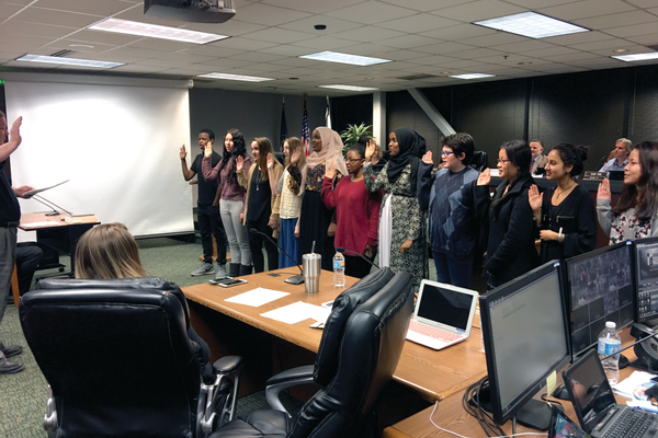 Local teenagers are sworn in as members of the South Salt Lake Youth Council. (Kelly Cannon/City Journals)