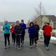 Residents Becky Lundberg, Shauna Ball, Lisa Ashton, Julie Mederios, Laury, Corey, Melonie, Andrea Madsen run in freezing temperatures in South Jordan (Mylinda LeGrande/City Journals)