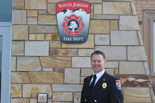 Battalion Chief Clayton Miller stands outside South Jordan's newest fire station. Miller oversaw the design and construction of the project. (Briana Kelley/City Journals)