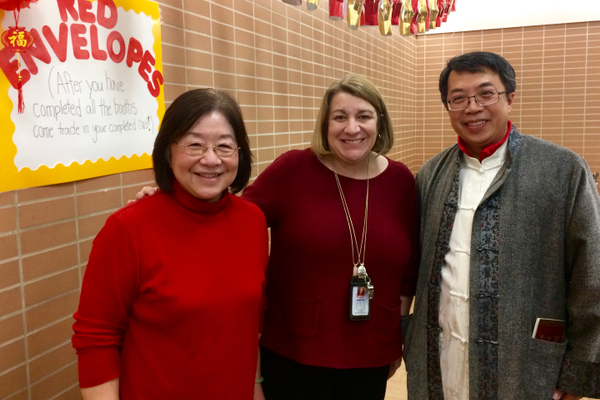 Sponsors Ling-Ling Chen and Professor Jimmy Chen pose with Principal Julie Winfree. (Rubina Halwani/City Journals)