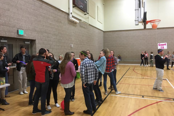 The Herriman Youth Council sets up for their glow-in-the dark dance to benefit the Utah Food Bank. (Herriman City)