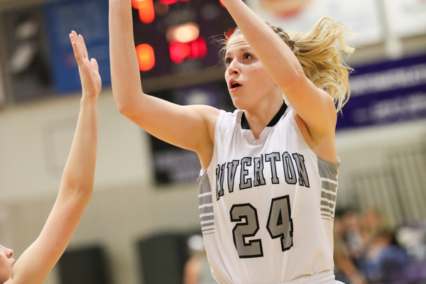 Senior Megan Krahenbuhl has never missed the state tournament as a member of the Silverwolves' girls basketball team. (Dave Sanderson/dsandersonpics.com)