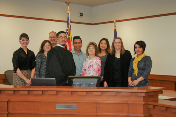 Judge George Vo-Duc and the Midvale Justice Court administration shortly after he was sworn in. (Midvale Justice Court)