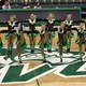 """Hillcrest High drill team put on wacky money glasses and hats as they performed their kick routine to the song, """"Money"""" from the musical """"Cabaret"""" at the state competition at Utah Valley University. (Scott Tarbet/Hillcrest High School)"""