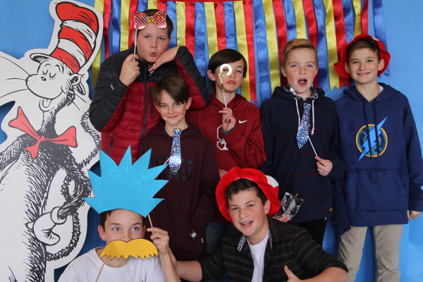 Sixth-grade students get festive with Cat in the Hat. Back row (L-R): Ryan G., Josh C., Jonathan H., Jackson V., Evan P. Front row (L-R): Will C., Will R. (Emily Burningham/Driggs PTA)