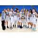 Skyline High School girls basketball team holds the 4A state championship trophy at Salt Lake Community College after defeating Judge Memorial in overtime 60-57. It was the Eagles' third championship appearance in four years. (jorgiabarryphoto)
