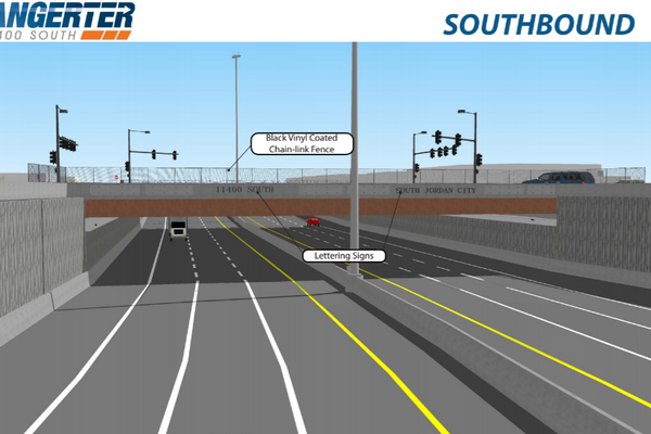 Bangerter Highway will flow underneath 11400 South as an underpass, as shown in this rendering. (UDOT)
